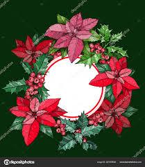 Weihnachten Runder Rahmen Kranz Aus Weihnachtsstern Blüten