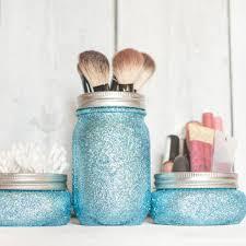 mason jar makeup brush holder. teen glitter decor, mason jars, aqua organizer, makeup brush holder jar