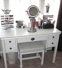 white vanity table with lighted mirror with stool and five drawers for home furniture ideas