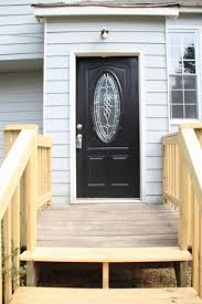 Decoration Beautiful Black Wooden Front Door With Glass Panel Also