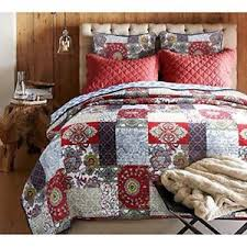 Red Shabby Chic King Size Patchwork Quilt White Blue Damask ... & Image is loading Red-Shabby-Chic-King-Size-Patchwork-Quilt-White- Adamdwight.com