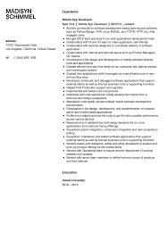 Mobile Developer Resume Mobile Application Developer Resume Sample Velvet Jobs
