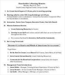 Corporate Meeting Minutes Examples Shareholder Meeting Minutes Templates 7 Free Word Pdf