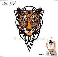 Indie Kamenný Lev Tygr Kreslení Geometrických Dočasné Tetování