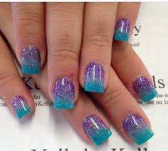Purple And Teal Nail Designs Blue Purple Ombre Glitter Blue Ombre Nails Teal Nails