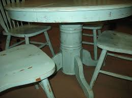 painted color distressed round dining table