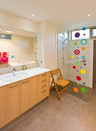 bathroom colourful walk in shower timber laminate vanity
