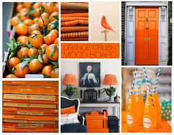 orange mood board - I really like the idea with the Penguin Books!
