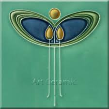 Art Nouveau Ceramic decorative wall tile 6 X 6 Inches 1a in Home