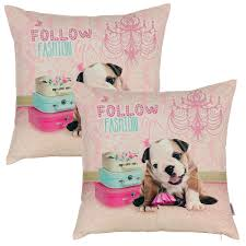 Decorative Pillow Set Cute Throw Pillows Little Girl And Puppy Decorative Set