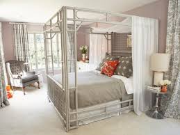 Gray Bedroom With Painted Bamboo Canopy Bed | HGTV