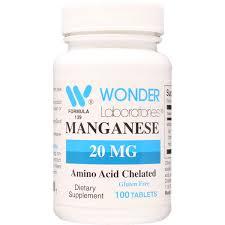 <b>Manganese 20 mg</b> - Qty: 100 Tablets - Item#: 1393   WonderLabs ...