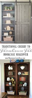 traditional cherry bookcase makeover with a diy sliding barn door worthing court