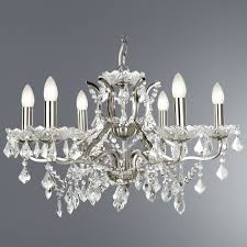 paris 6 light chandelier with crystal and satin silver loading zoom