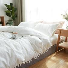 100 cotton bedding set home textile soft bed linings king queen twin size simple white ball duvet cover flat sheet pillowcases bedroom comforter sets queen