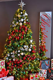 White Christmas Tree With Red And Green Decorations (13)