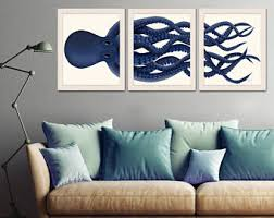 giant octopus print blue octopus triptych set of 3 octopus poster giclee poster nautical decor octopus wall art home decor on digital wall art uk with digital prints etsy uk