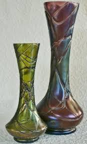 czech art glass jugendstil vases
