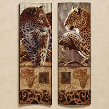 leopard wall art 5 piece scenery orange autumn canvas