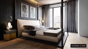 bedroom cg visualization features a stylish bedroom design developed by studio a the high quality cg render demonstrates the key benefits of the interior