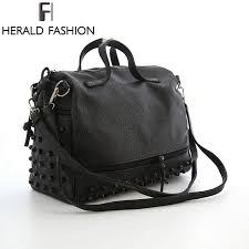 herald fashion designer women leather handbags large black shoulder bags rivet las tote bags motorcycle bag bolsa feminina