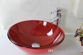 2018 red painted pots tempered glass vessel sink with faucet set n 142 from tracygao11 58 3 dhgate com