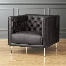 Savile Black Leather Tufted Chair Black Leather Chair A49