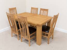 Oak Chairs For Kitchen Table Riga 6 Seater Oak Dining Table Set Brown Leather Chairs
