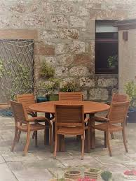 almeria 6 seater round wooden garden table and chairs