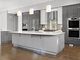 Grey White Lacquered Kitchen Island With Marble Top Faucet Sink Kitchen  Base Cabinet Microwave Ovens Pendant Lamp Refrigertor Porcelain  Backsplashes Wooden ...