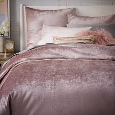 washed cotton er velvet duvet cover shams dusty blush west elm