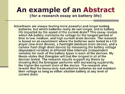 the research essay every students guide to success ppt  an example of an abstract for a research essay on battery life advertisers are