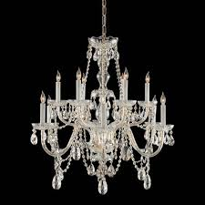 crystorama lighting group traditional polished brass twelve light swarovski strass crystal chandelier