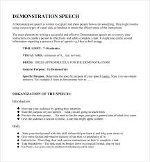 sample demonstration speech example template documents pkwy k12 mo us