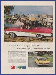 Vintage 1959 58 FORD Thunderbird T-Bird Automobile Car RARE Print ...