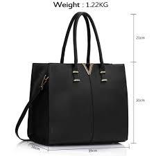 leahward black v detail large black women s faux leather tote handbags