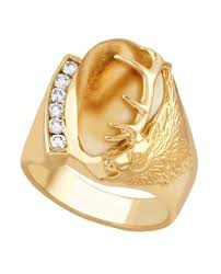 men s elk ivory and diamond ring in 10k yellow gold i1753d cascade
