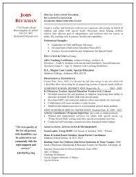 Special Education Teacher Resume Sample Cover Latter Sample