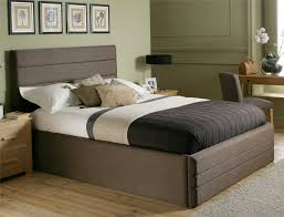 bedroom: Calm Color Simple Headboards For Double Bed Plus Soft Pillows Near  Casual Nightstands On