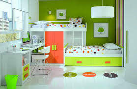 Green Furniture With Polka Bedding For Kids Bedroom