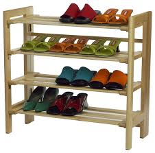 winsome wood 4 tier shoe rack with natural finish x 82218