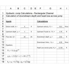 excel formulas for hydraulic jump calculations