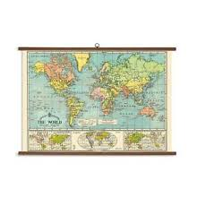 Details About Cavallini Papers World Map Vintage School Chart