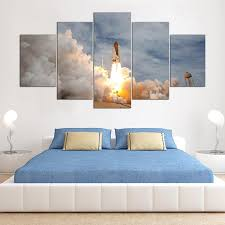 printed modular frame picture large canvas painting for bedroom 5 panel the space shuttle living room