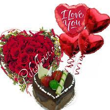 sweet heart helium balloons cake flowers