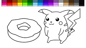 Small Picture Learn Colors for Kids and Color Pokemon Pikachu and Donut Coloring