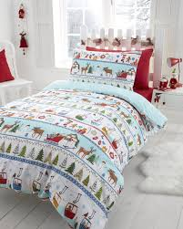 double bed white chirstmas duvet cover bedding sets featuring snowmen and reindeers