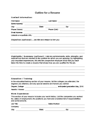 Resume Outline Example Best 28 Customizable Resume Outline Templates And WorkSheets