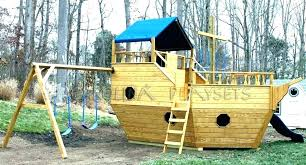 latest playhouse with swing set pirate ship wooden boat