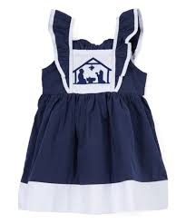 Lil Cactus Dark Blue White Nativity A Line Dress Infant Toddler Girls